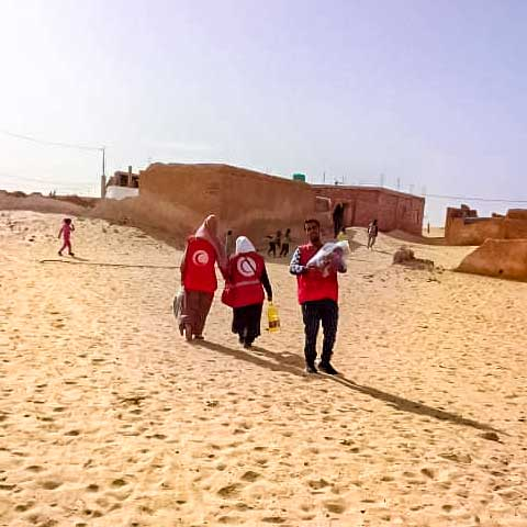 A photo of Algerian Red Crescent volunteers walking in a desert town to distribute food, masks and sterilizer to primary schools.