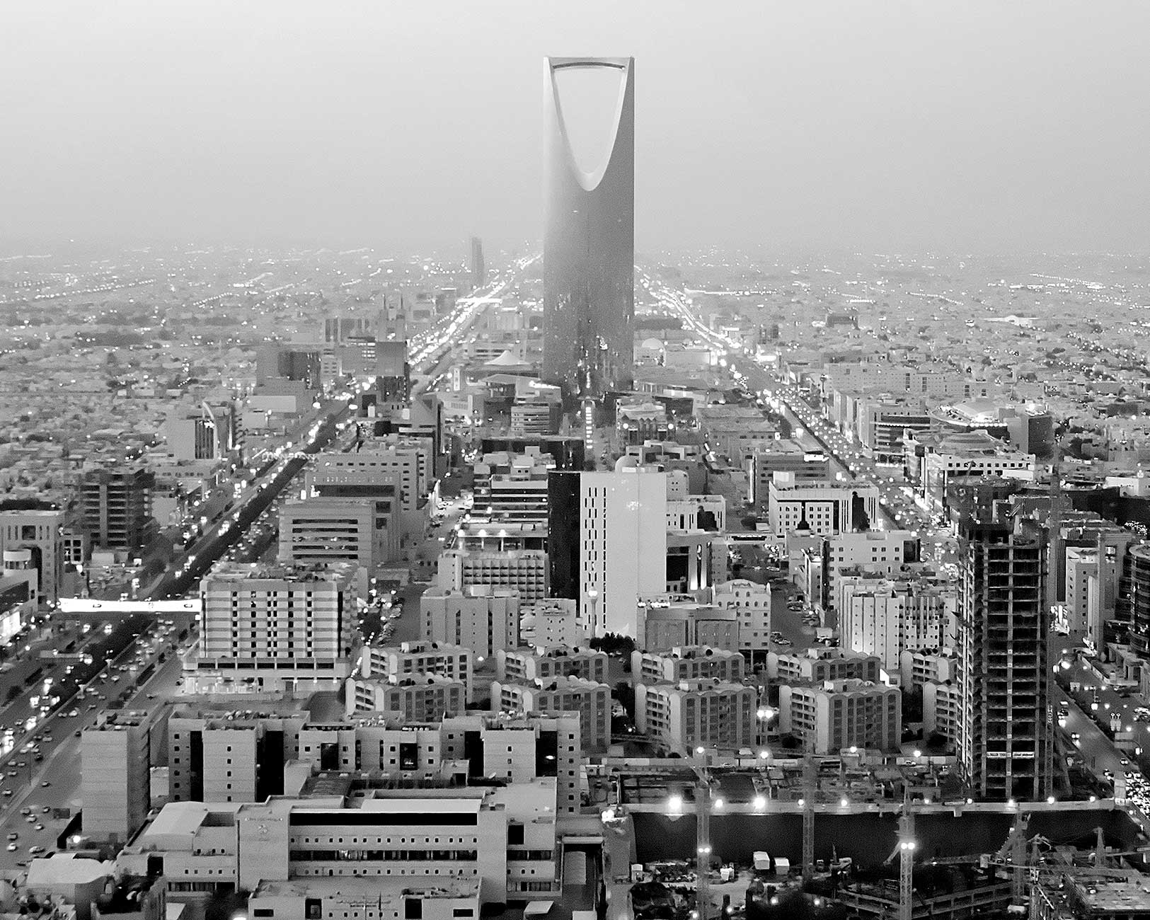 Black & white photo of Riyadh