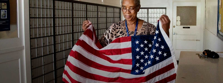 Woman holding a flag