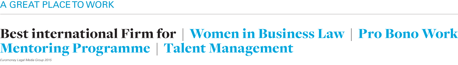 Best international firm: Women in Business Law, Pro Bono, Mentoring, Talent Management (Euromoney 2015)