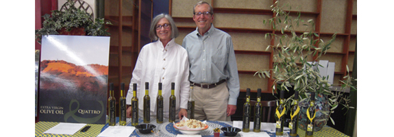 Raleigh and Burt Fohrman with their award-winning Quattro olive oil