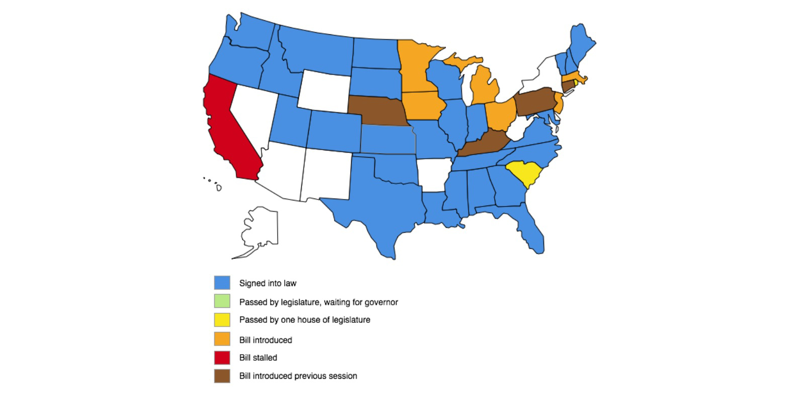 Map of state legislation re abusive demand letters